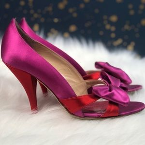 Kate Spade Satin Bow Peep Toe Pumps Size 6